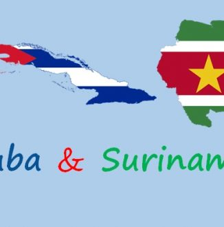 landkaart Cuba en Suriname