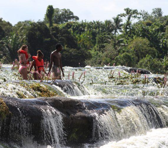 op detap a Watra stroomversnelling aan de Boven Suriname rivier